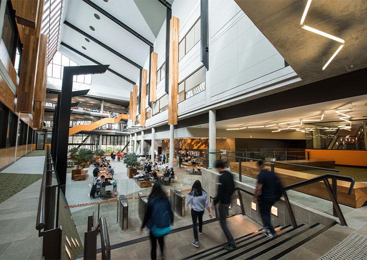 Busy common area of one of La Trobe University's buildings.