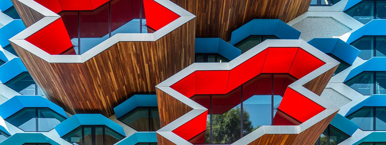Close up view of La Trobe's Institute for Molecular Science building windows.